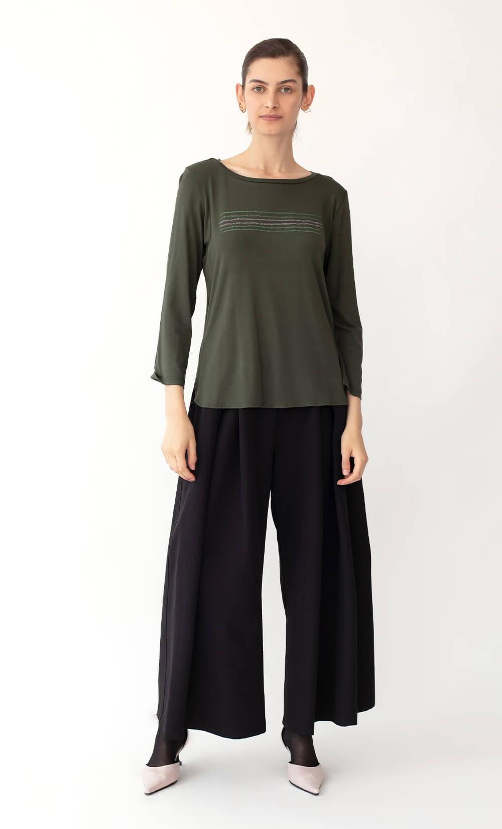 Kav Bicolor Olive Green T-Shirt