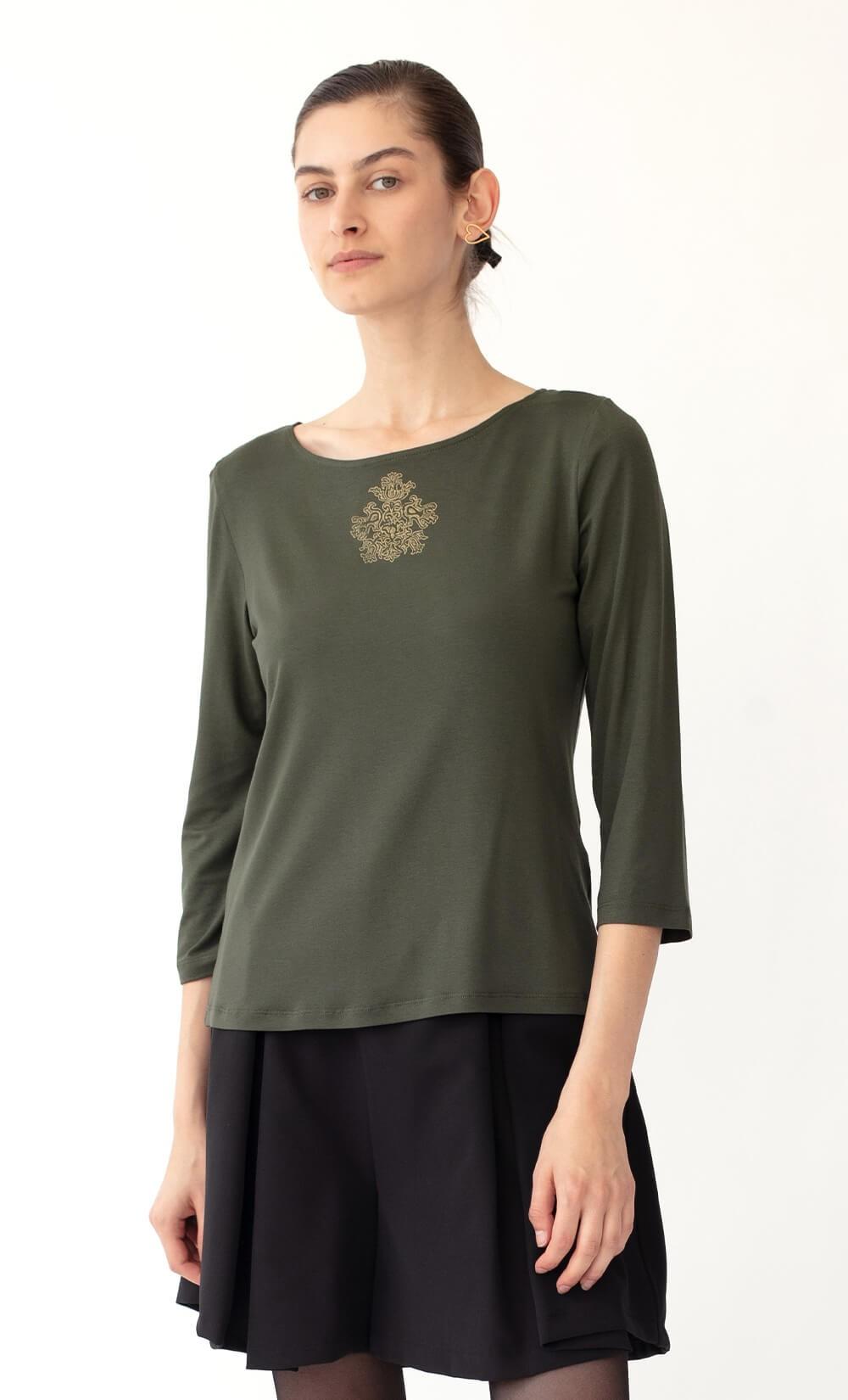 Folly Medallion Olive Green T-Shirt