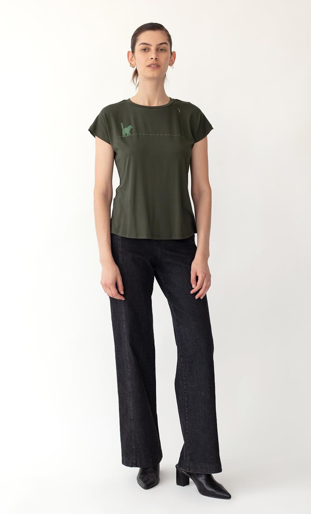 Fumi Cat-Moon Olive Green T-Shirt