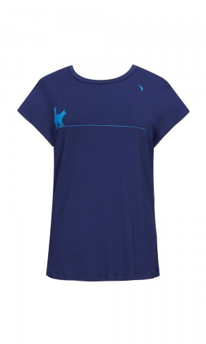 Fumi Cat-Moon Navy T-Shirt
