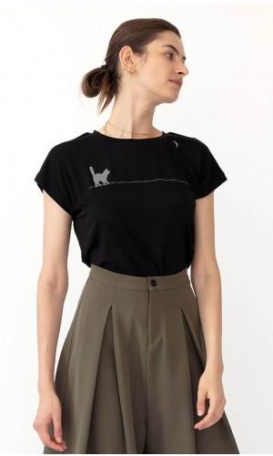 Fumi Cat-Moon Black T-Shirt