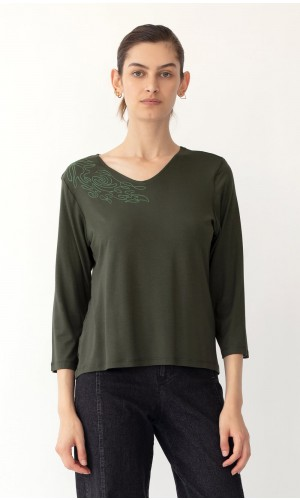 Soon Floral Olive Green T-Shirt